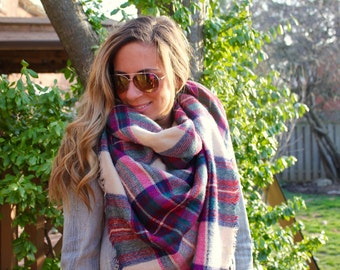Raspberry Jam Plaid Blanket Scarf, Winter scarf, Blanket scarf, Plaid Scarf, Bridesmaid Scarf, scarves, best selling items, gift for her