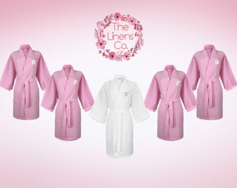Set of 5; 1 White Bride Robe, 4 Pink Waffle Kimono Bridesmaid Robe, Monogrammed Robe, Embroidered Robe, Wedding Day Robe