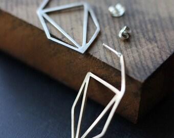 Geometric Sterling Earrings- Free Shipping