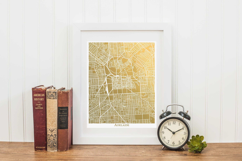 Adelaide Map Art Gold Foil Map™ Adelaide Print Gold Foil