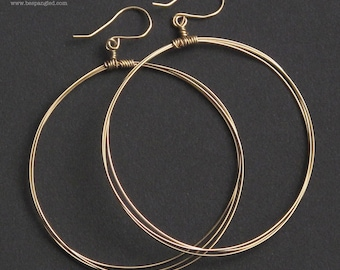 Gold Hoop Earrings, Large Gold Wire Hoop Earrings, Gold Hoops, Bespangled Jewelry Signature Hoops (Gold, Rose Gold or Silver)