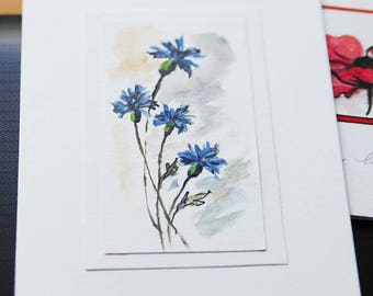 Hand Painted greeting card blue flowers