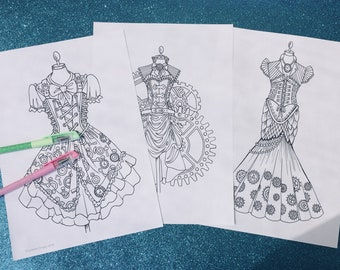 Steampunk 2 pack, coloring pages to download