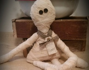 primitive Mummy rag doll, Halloween decor, OFG, FAAP, prim mummy doll, shelf sitter, cupboard tuck, bowl filler, Mummy raggedy peg hanger