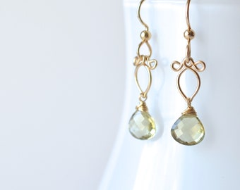 Arabella - Olive Quartz, 14k Gold Filled Earrings | Delicate Gold Dangles | Small Quartz Earrings