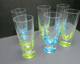 Set Six Lucite Glasses - Mid-Century Modern - Great Vintage Condition.   Lemonade or Iced Tea Anyone?
