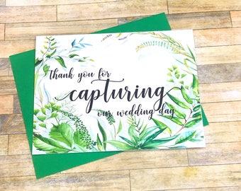 Thank you for Capturing our Wedding Day - Wedding Photographer Card - Tip Card for Videographer Photographer - Thank You - SECRET GARDEN