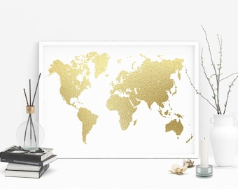 Gold foil world map printable, Large gold foil print, Gold map, Gold foil art