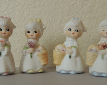 4 Porcelain Miniature Little Girl Figurines