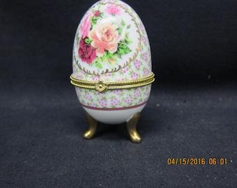 Egg Shaped Trinket Box with Floral Design