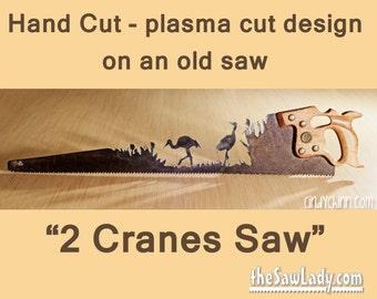 Metal Art Sandhill Cranes Hand (Plasma) cut Hand Saw | Wall Decor | Garden Art | Recycled Art | Repurposed  - Made to Order for Bird Lovers