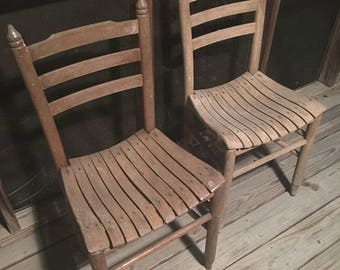 Vintage/Antique Wood Slat Straight Ladder Back Chairs. Set Of Two. Free  Shipping