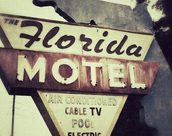 Old Motel Sign, Florida Motel, Bedroom Wall Art, Old Sign Photography