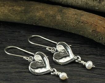 Heart Pearl Earrings, Pearl Dangle Earrings, 925 Sterling Silver, Broken Hearts, Wedding Jewelry, Bridal, Bridesmaids Gifts X379