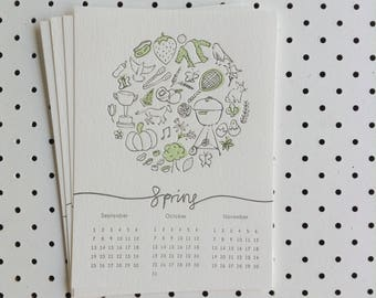 Seasonal Letterpress Calendar