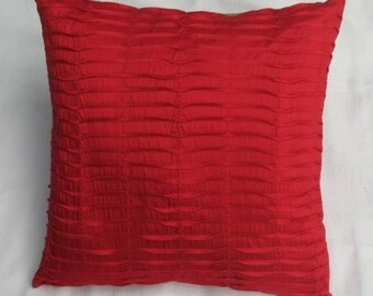 bright red  silk pin tuck cushion cover red decorative throw pillow.  Lovely red throw pillow.  can be customized. Custom made 16 x 16 to 24