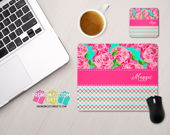 Personalized Lilly Pulitzer Inspired Mouse Pad and Coaster Set - Personalized Desk Set - Monogram Mouse Pad - Teacher Gift - Custom Coaster
