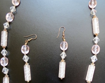 Light Pink Geometric Bead Necklace and Earring Costume Jewelry Set