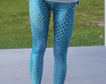 Mermaid leggings, womens Yoga leggings, metallic leggings, peacock leggings, high waist leggings, blue leggings, blue yoga pants