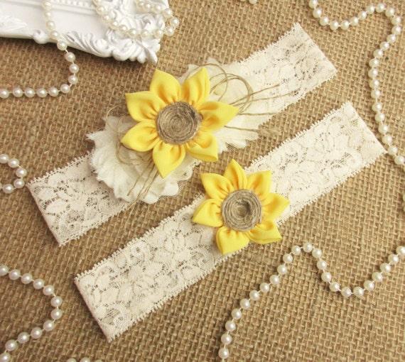 Country Wedding Garters: Sunflower Wedding Garter SetRustic Country Chic Wedding