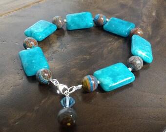 Blue and Brown bracelet, Petalite Bracelet, Sterling Silver Bracelet, Jasper Bracelet, Charm Bracelet, Gemstones Bracelet, Gift for Her