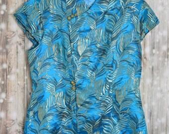 B_018) Vintage Turquoise Kimono Blouse