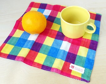 Mini Handkerchief / Hand and face cotton towel : layered gauze hanky - multi colored check, Japanese fabric