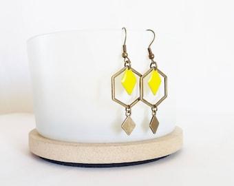 Earrings graphic hexagons and diamonds yellow enamel