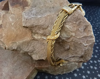 Goldette Mesh and Chain Victorian Revival Vintage Bracelet with Faux Seed Pearls circa l960s