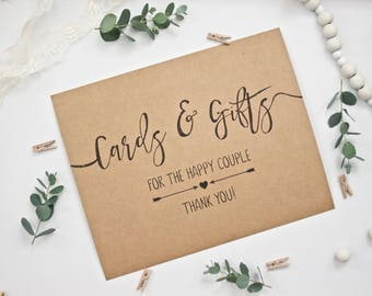 PRINTED Rustic Wedding Cards & Gifts Sign - For the Happy Couple Thank You - Recycled Kraft Calligraphy Style Print for a Rustic Wedding