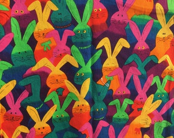 Vintage  Cotton Fabric bunny rabbit  rabbitts easter pattern multicolour   kitsch novelty animal retro material