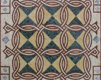 "INTERLOCKING Circles Design Geometrical FLOOR 40""x40"" Marble Mosaic GEO2191"