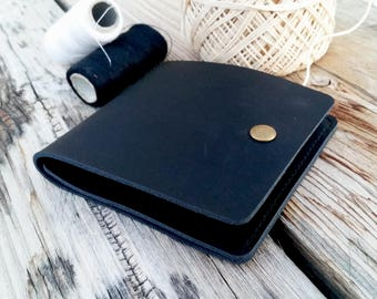 Mens leather wallet, black leather wallet, groomsmen gift, minimalist wallet, small leather wallet, clip mens wallet, gift for husband