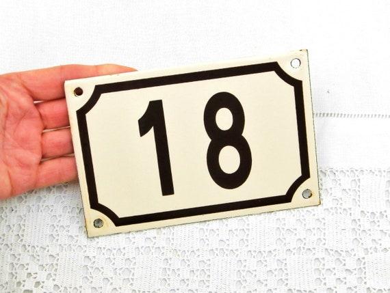 Vintage Traditional French Beige and Black Enamel Metal Number Plaque 18, Vintage Porcelain House Street Enameled Address sign