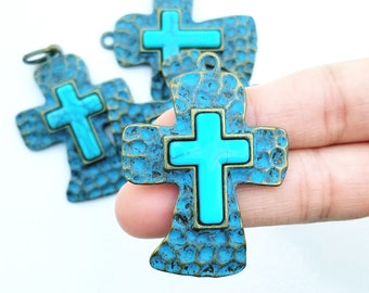Turquoise and Gold Textured Large Cross Pendant 49mm Set of 5