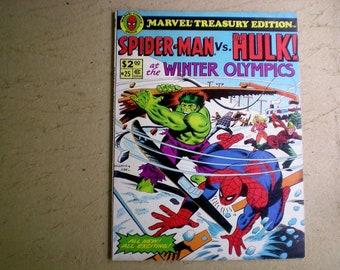 Marvel Treasury Edition 25 (1980) Spider-Man vs. The Hulk, Winter Olympics, Marvel CC02930 Mag