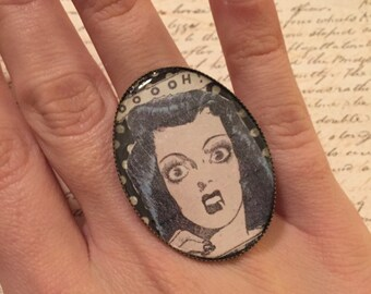 Screaming girl- adjustable ring