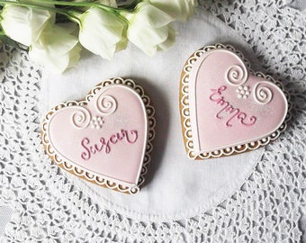 10 Personalised Heart Biscuits - wedding favour - engagement favour - hen party - bachelorette party - bridal shower