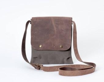 Khaki Canvas Umhängetasche Messenger Tasche mit Leder  Damen Herren small