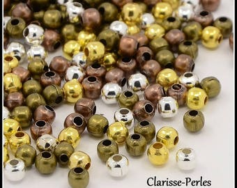 100 round metal beads multicolor spacer 3mm hole 1.2 mm