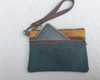 Cork, wristlet, wallet, natural, eco friendly, teal blue, mustard yellow, cork bag