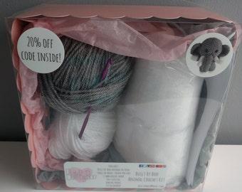 Relly the Elephant Crochet Kit - learn to crochet, craft kit, diy, amigurumi animals, cute, crochet patterns, make an animal, crafting, zoo