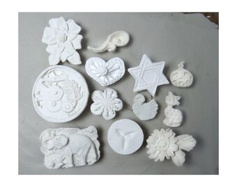 ceramic stamps - texture stamps -soap stamp -pottery stamps -  One time grab bag of  ( 12 )  bisque stamps -  ( 285 )