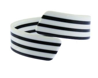 Black and White Bangle, Black and White Bracelet, Black and White Striped Bangle, White and Black Bangle