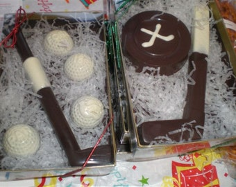 Sports hockey chocolate favors,  sports party favors, winter sport favors, chocolate hockey stick and puck, skating party favors or gifts