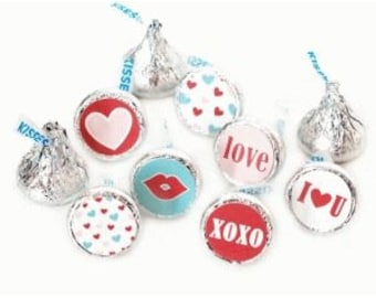 Valentines Favors Party Favors Valentines Kisses Stickers Valentines Stickers Favor Bag Seal Stickers Valentines Candy Favors Heart XOXO