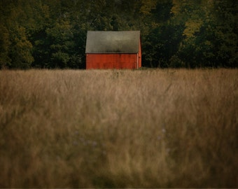 Red Barn Photo, Red and Gold Wall Decor, Farmhouse Print, Large Wall Art, Cottage Style, Fixer Upper style, Dining room Wall Decor, Home Art