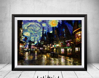 Hogsmeade Village, Hogsmeade Print, Starry Night, Hogsmeade Poster, Harry Potter Print, Harry Potter Wall Art, Harry Potter, Hogsmeade Art