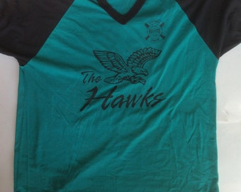 vintage 70's baseball t-shirt / vintage graphic tee / vintage v neck t-shirt / mens v neck t-shirt / baseball tee / hawks t-shirt