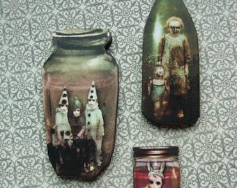 Zombie Specimen Jar 2 - Macabre Brooch Set or Magnet Set w/Vintage Illustrations of Dolls and Children in Specimen Jars - Creepy Altered Art